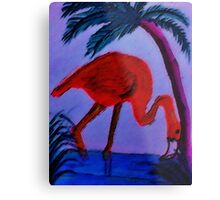 Flamingo under the palm tree,  watercolor Metal Print