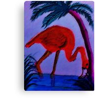 Flamingo under the palm tree,  watercolor Canvas Print