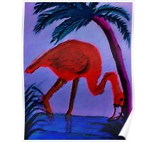 Flamingo under the palm tree,  watercolor Poster