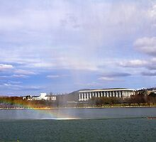 Scene over Lake Burly Griffin Canberra by pamafri
