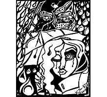 'Rain On Me In The Blackground ~ white on black' Pieces Art™ Photographic Print