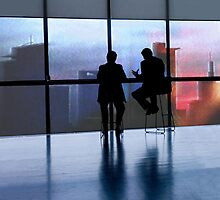Meeting - view to Frankfurt skyline by Marlies Odehnal