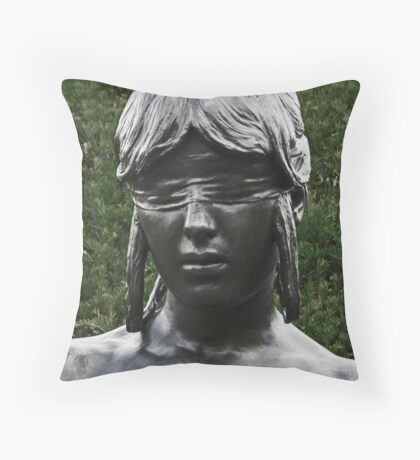 Blindfolded Nymph Throw Pillow
