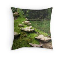 Fungi on mossy log Throw Pillow