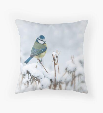 Snowy Blue Tit Throw Pillow