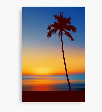 Palm Tree Beach Sunset Canvas Print
