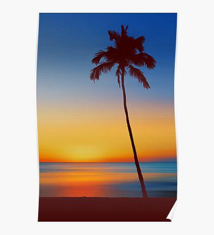 Palm Tree Beach Sunset Poster