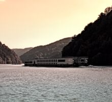 Danube river ship at evening | waterscape photography Sticker