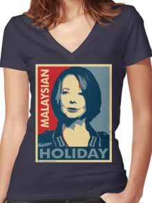 Julia's Malaysian Holiday Women's Fitted V-Neck T-Shirt