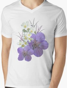 Pink and white flowers Mens V-Neck T-Shirt