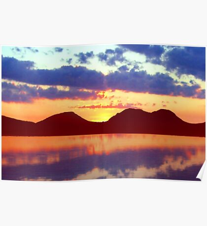 The Paps of Jura Sunset Poster