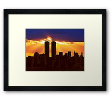 Heavenly Sunburst above the Twin Towers Framed Print