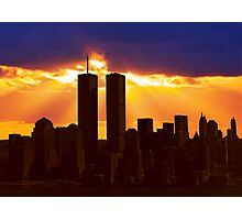 Heavenly Sunburst above the Twin Towers Photographic Print