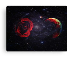 A Rose and The Planets Converge in Empty Space Canvas Print