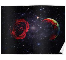 A Rose and The Planets Converge in Empty Space Poster