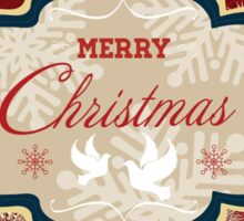 Snowflakes and Doves Christmas Card - Merry Christmas Sticker
