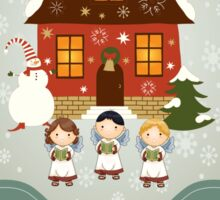 Little Carolers Christmas Card - Holiday Saying Sticker
