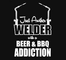 Welder with a Beer and BBQ T-Shirt