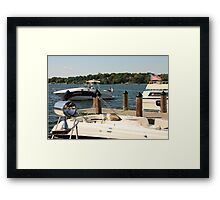 Boats and American Flag Framed Print