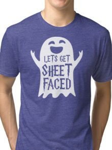 Lets Get Sheet Faced Ghost Funny Humor Halloween Costume Adult - Men's T-Shirt Tri-blend T-Shirt