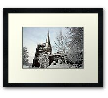 Ormskirk Parish Church - Snow Scene Framed Print