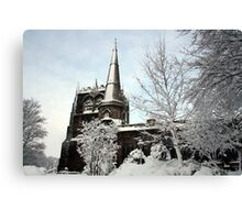Ormskirk Parish Church - Snow Scene Canvas Print