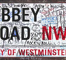Abbey Rd London Road Sign with Graffiti Die Cut Sticker by ukedward