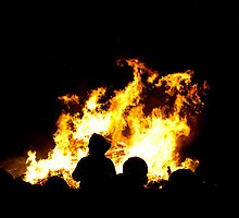 Fire and silhouette. Bonfire night Liverpool. by SEFPhotography