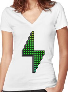 Pixel Powerhouse Women's Fitted V-Neck T-Shirt