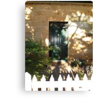 Bacon Cottage Door, Ross, Tas Canvas Print