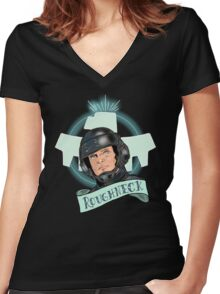 Aye Que JOHNNY RICO! Women's Fitted V-Neck T-Shirt