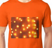 Abstract defocused and blur bokeh background of small yellow lights Unisex T-Shirt