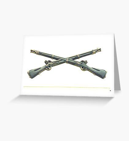 U.S. Infantry Cross Rifles Insignia Bronze Sculpture Greeting Card