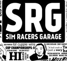 Sim Racers Garage Collage - Black w/ White Products Sticker