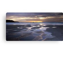Sunset at Perranporth Beach Canvas Print