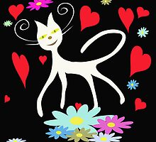White cat on black background by Ludmilka
