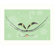 Muzzle of a smiling cat on a light green background Art Print