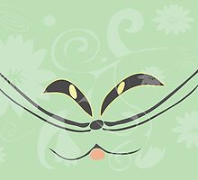 Muzzle of a smiling cat on a light green background by Ludmilka