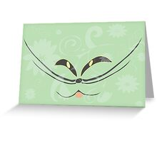 Muzzle of a smiling cat on a light green background Greeting Card