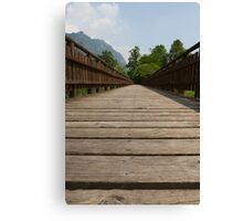 wooden bridge on the lake Canvas Print