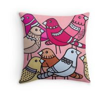 Colourful birds in pink Throw Pillow