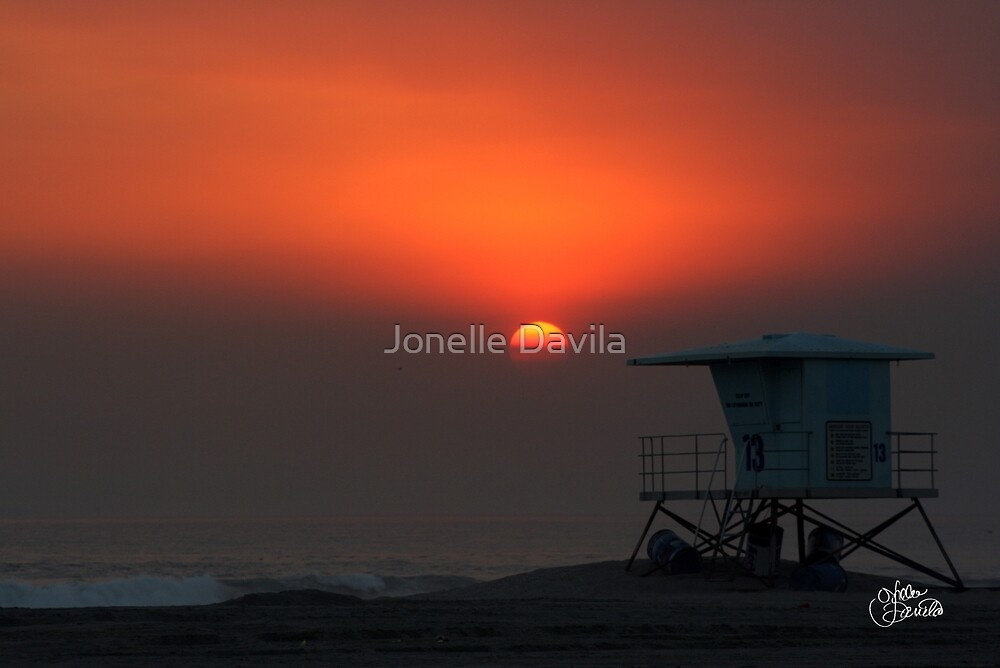 Lifeguard Tower at Sunset by Jonelle Davila