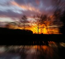 Fire on the pond by Régis Charpentier