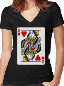 Queen Of Heart  Women's Fitted V-Neck T-Shirt