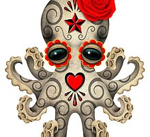 Red Day of the Dead Sugar Skull Baby Octopus by Jeff Bartels