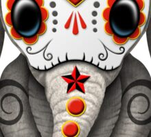 Red Day of the Dead Sugar Skull Baby Elephant Sticker