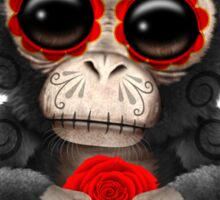 Red Day of the Dead Sugar Skull Baby Chimp Sticker