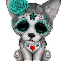 Blue Day of the Dead Sugar Skull Wolf Cub by Jeff Bartels