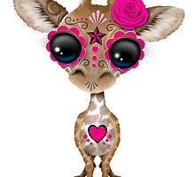 Pink Day of the Dead Sugar Skull Baby Giraffe by Jeff Bartels