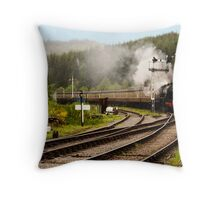 The Train Arriving Throw Pillow